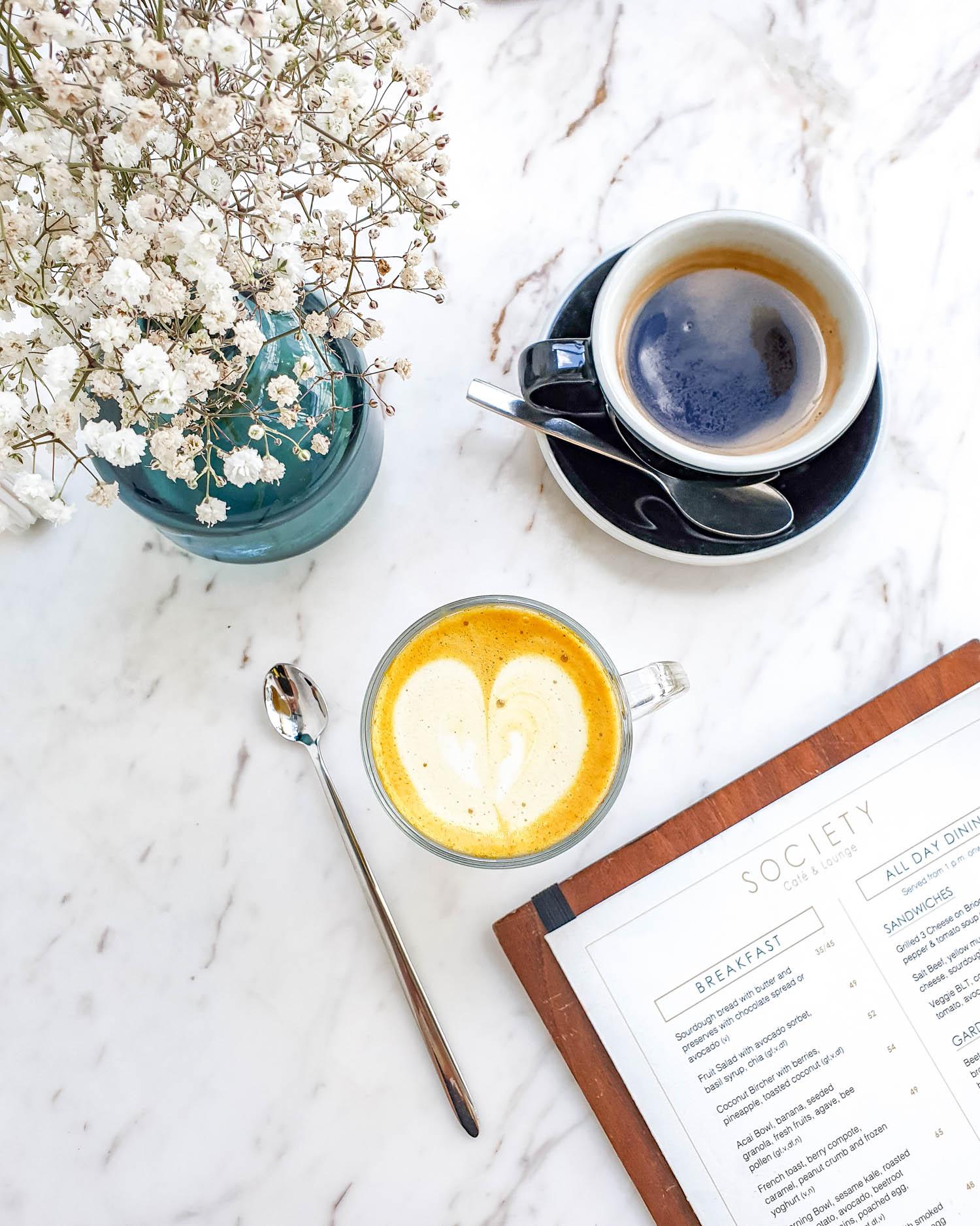 Turmeric latte from Society Cafe and Lounge | Dubai UAE