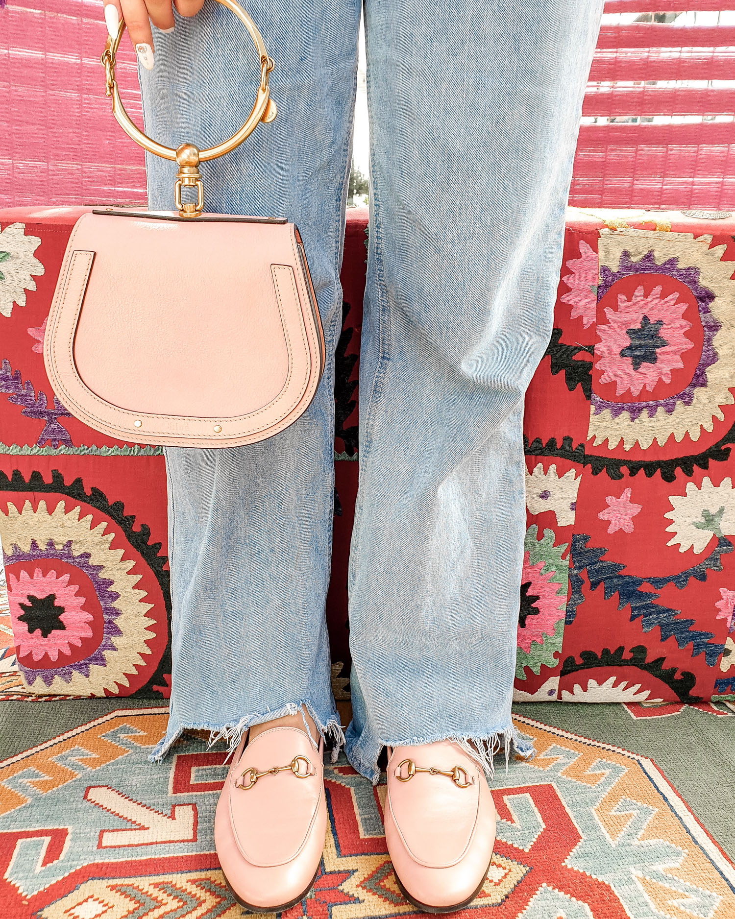 70s inspired fashion | Missguided jeans and Gucci loafers