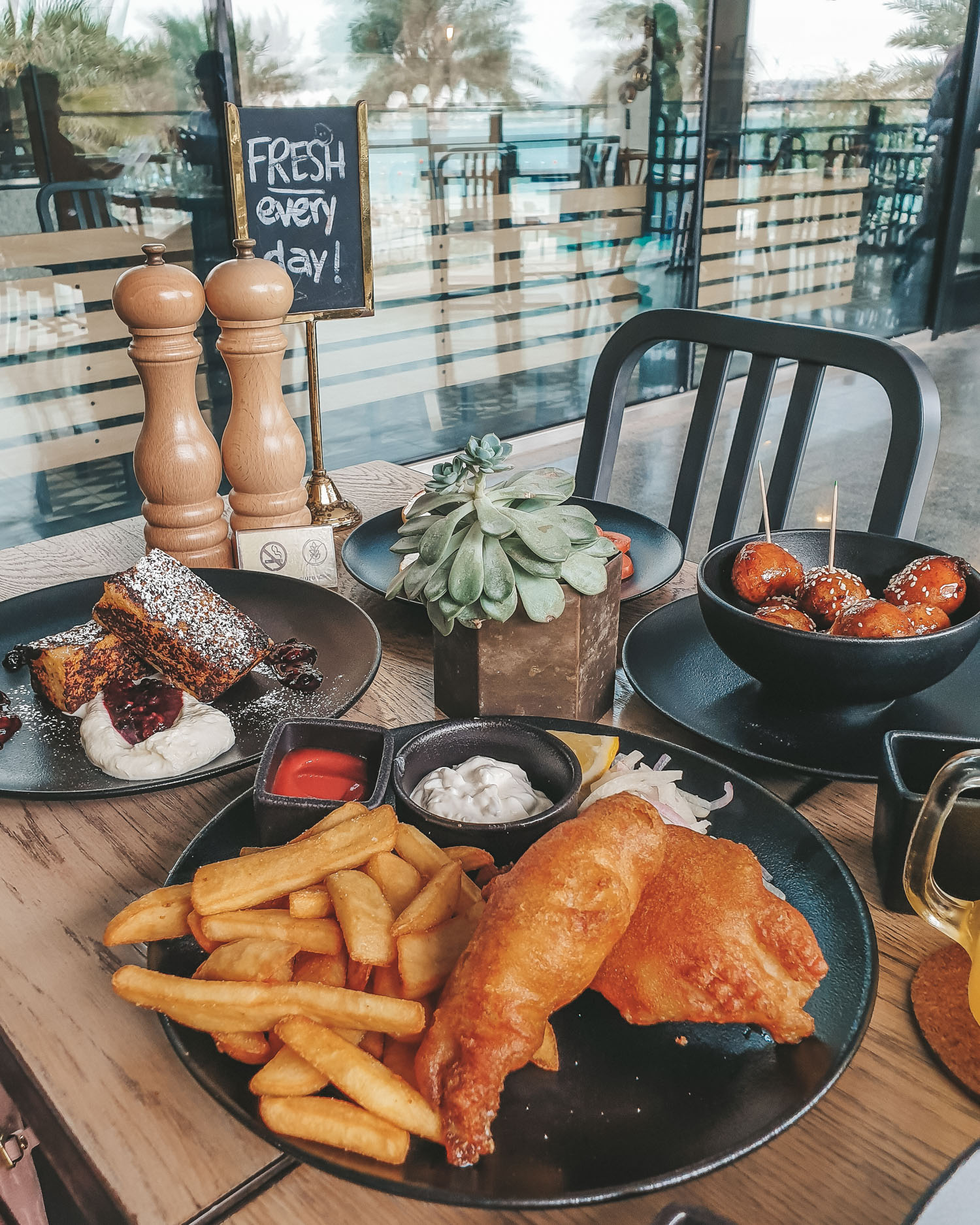 Tawa Bakery 100% gluten-free restaurant in Abu Dhabi fish and chips