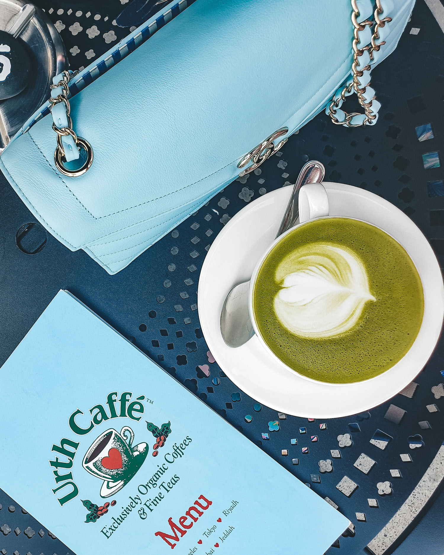 matcha latte at Urth Caffe Dubai