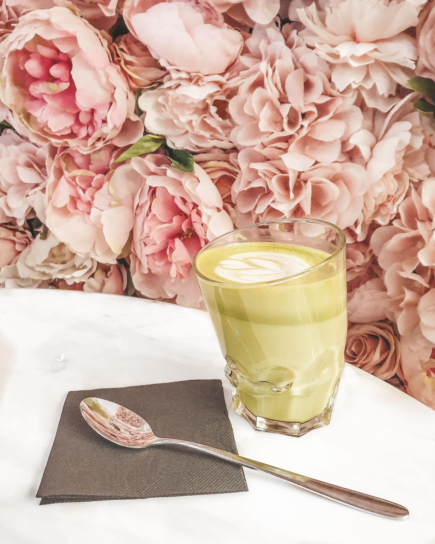 matcha latte at Secret Garden by Leto