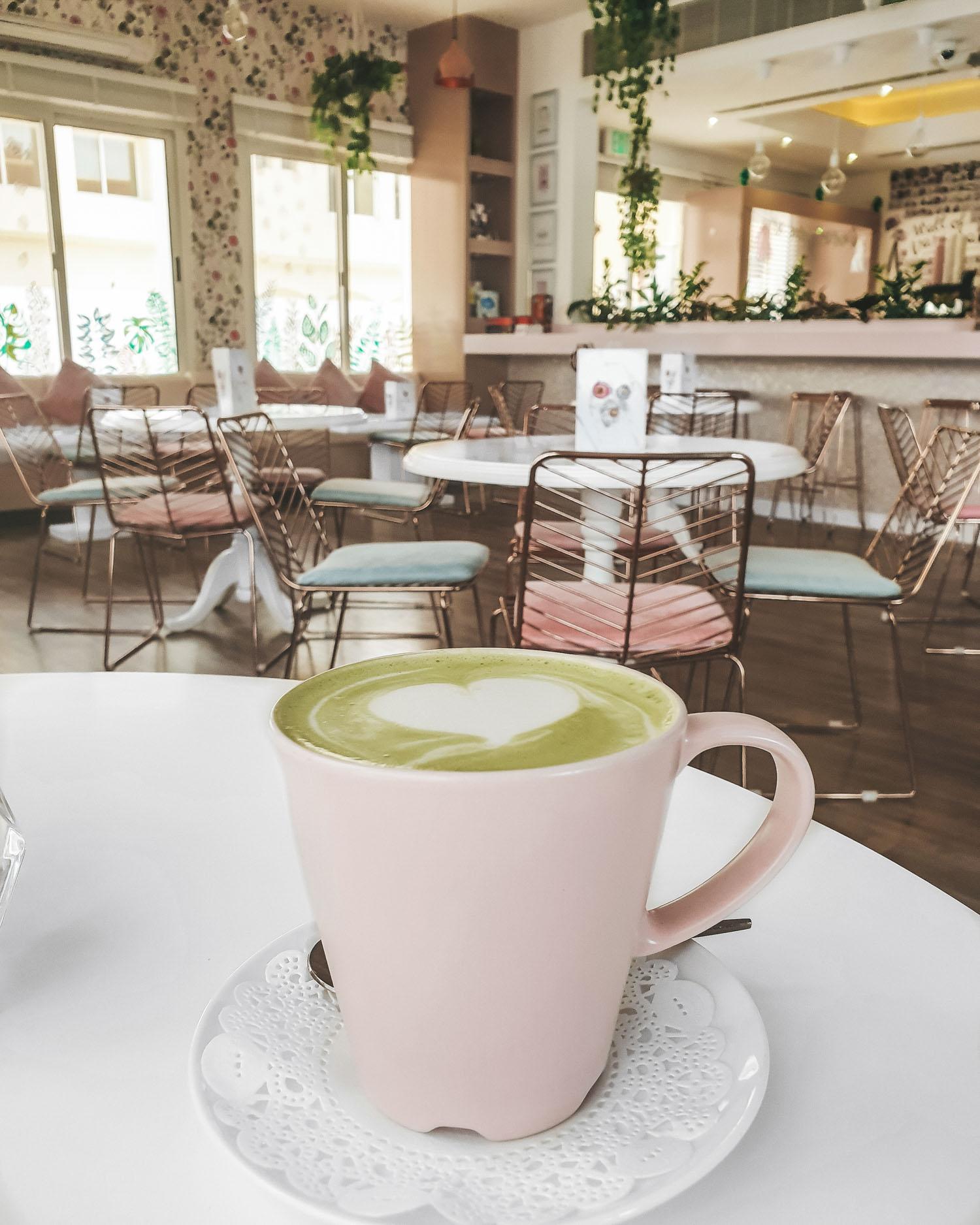 matcha latte at Tania's Teahouse Dubai