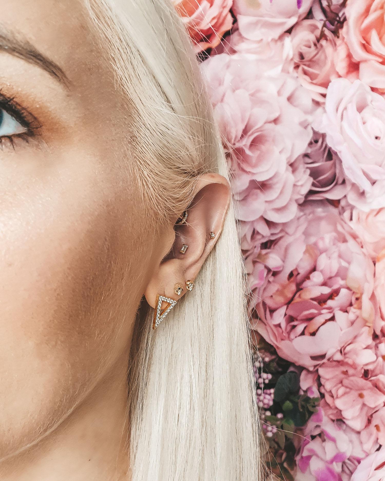 New piercing: diamond baguette inside my ear