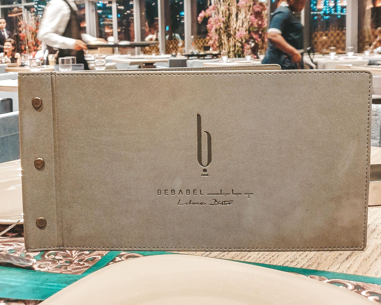 Bebabel The Dubai Mall   menu