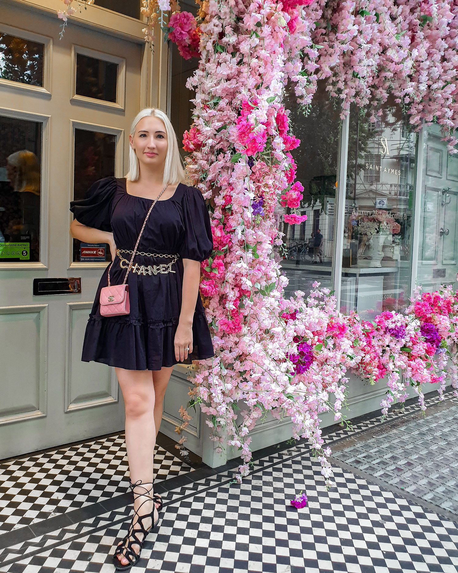 & Other Stories puff sleeve dress outfit | London Saint Aymes Cafe | pink Chanel bag and gladiator sandals