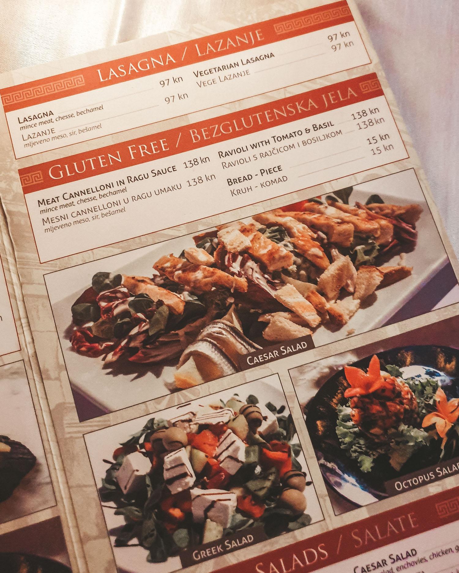 Lvxor menu | Gluten Free Guide Split, Croatia