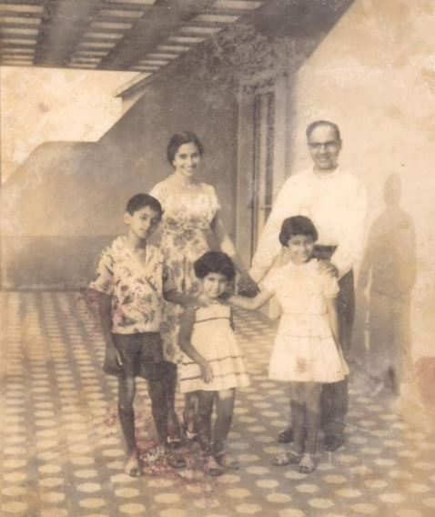 Mira and Tony Mascarenhas with children Desmond, Noemia and Fatima.                                                                 Lisbon flat.  1963.