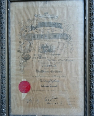Recent surfacing of diploma certificates awarded in Portugal and this one in England, show that Goan tailors apart from a long apprenticeship also underwent more formal training. This diploma is awarded to C. D. D'Souza from the Tailor and Cutter Academy and Institute of British Tailoring, London in 1954. Photo courtesy by grandson Peter A D'Souza who carries on the family occupation running a high-end outlet in Ahmedabad.