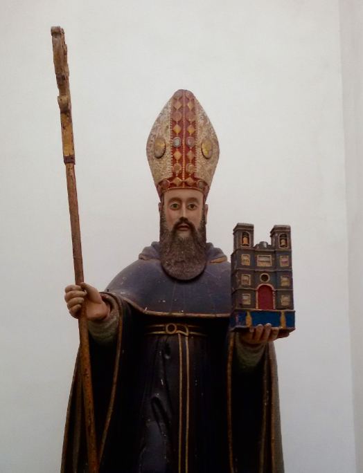 St. Augustine, Indo-Portuguese works 17th century. He is most recognised wearing his Byzantine mitre (tall hat).