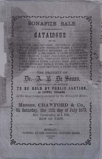 Front page of auction catalogue, 1897. Photo cannot be reproduced without the permission of Ze Muller.