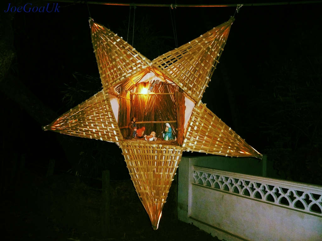 A Goan Christmas Star. It is a Goan tradition to hang paper stars outside homes. These can be quite elaborate works of art and lend an ethereal luminosity to the village night sky at Christmastime. Photo courtesy JoaGoaUK.