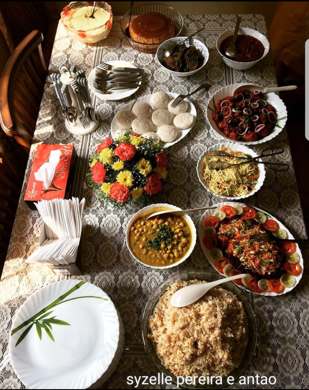 A beautifully laid out Goan dinner table typical of Christmas Day. Photo courtesy Syzelle Pereira e Antao. Do not reproduce without permission.