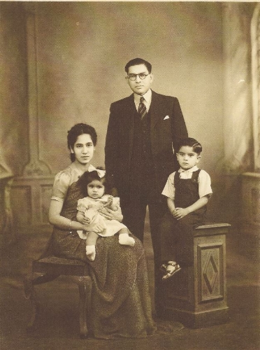 J. M Nazareth with wife Monica and children Lawrence and Jeanne. Kenya, c. 1950. Photo is courtesy of Lawrence Nazareth and cannot be reproduced without his permission.