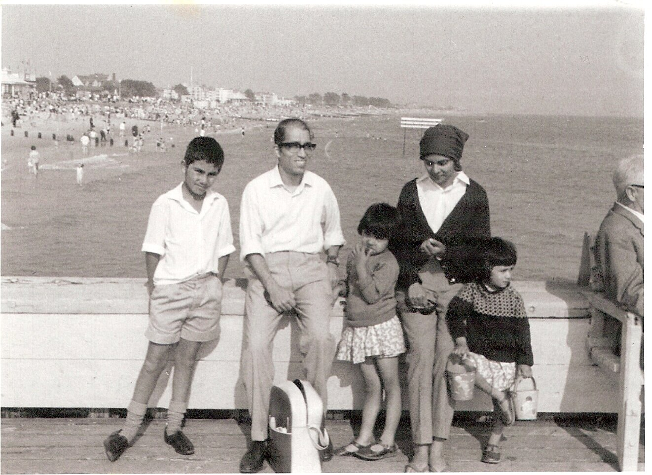 Early Goan arrivals from East Africa into UK. Mervyn Maciel and family on a seaside holiday, c. 1967