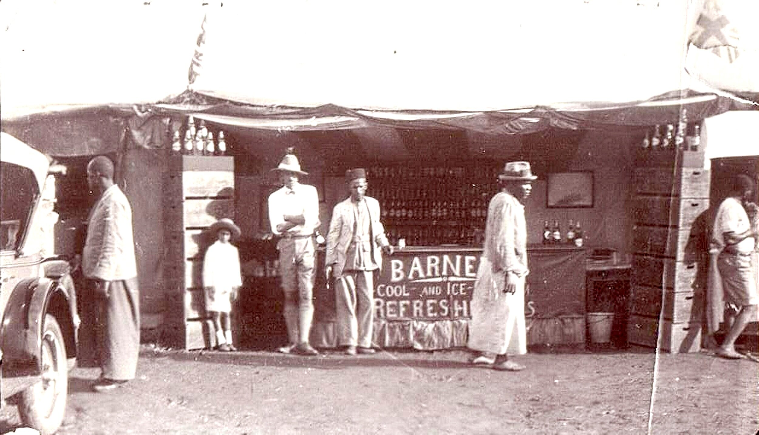The history of Goans in Uganda dates back to the 1800s. The prominent businessman A. Figueiredo had arrived in 1897 and settled in Mengo where he established a business by 1900. Goan businesses concentrated on retailing, tailoring, and rickshaw hire. Large numbers of Goans worked for the British administration. Seen above Barnet Soda drinks Company circa 1918, owned by the Lobo family. (picture courtesy and copyright of Jude John Lobo, loaned to the Oral Histories of British-Goans project.)