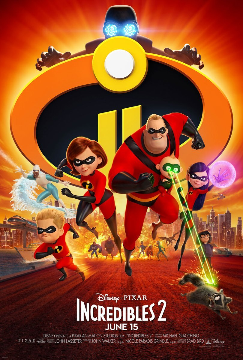 Incredibles 2 movie poster featuring the Incredibles running into action while Edna Mode, Frozone, the villain Screenslaver, and a new team of heroes watch from Metropolis.