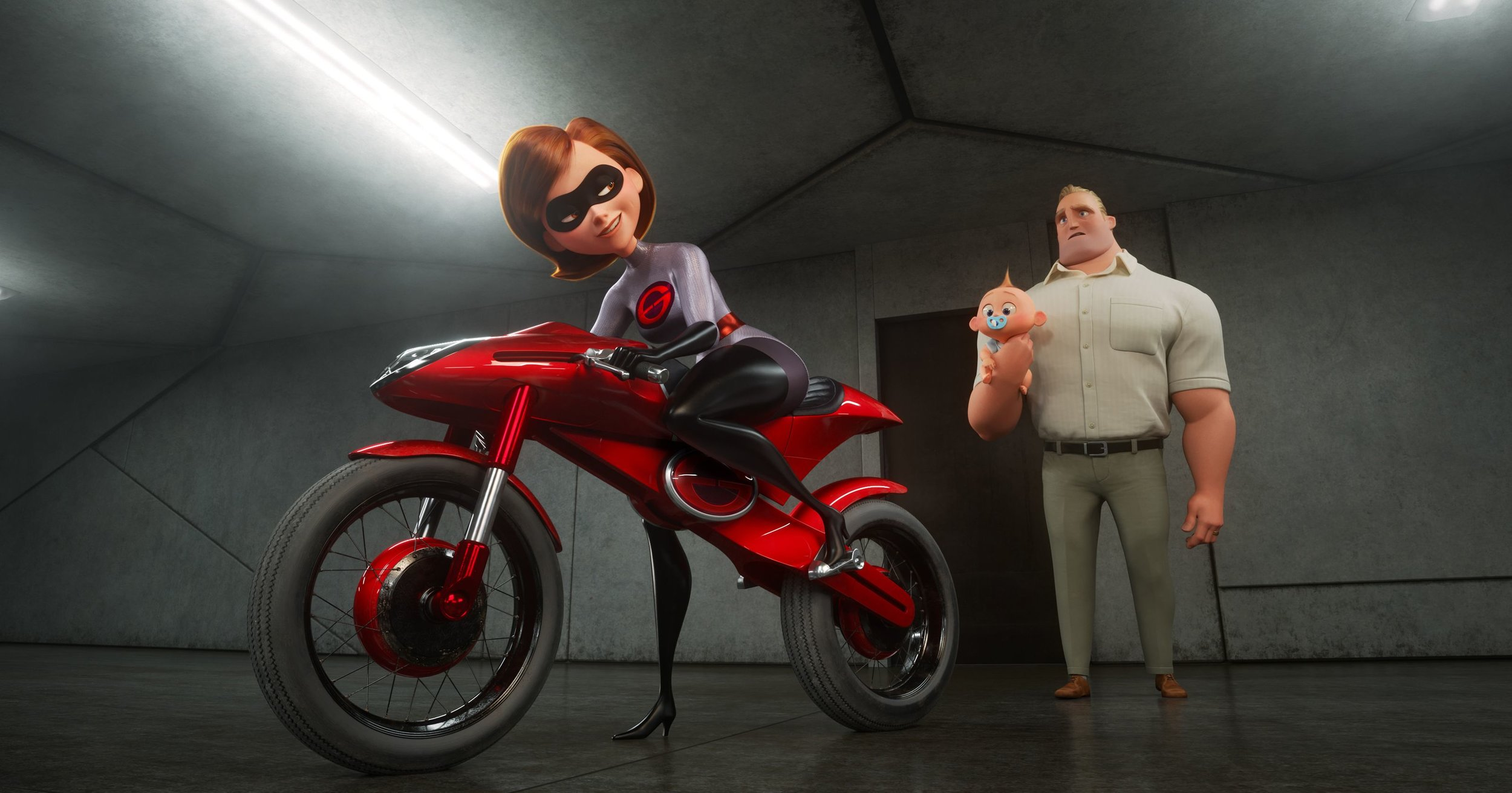 Elastigirl gets ready to fight crime on her new motorcycle while Mr. Incredible holds baby Jack=