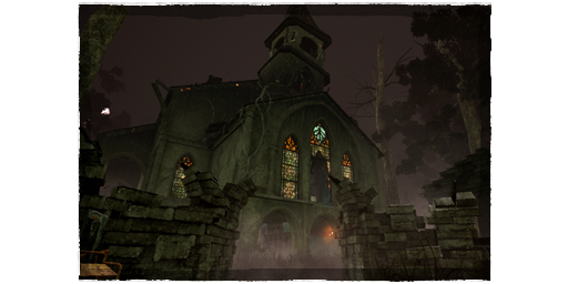 The new Father Campbell's Chapel map in  Dead by Daylight , featuring an abandoned church with glowing stained glass windows.