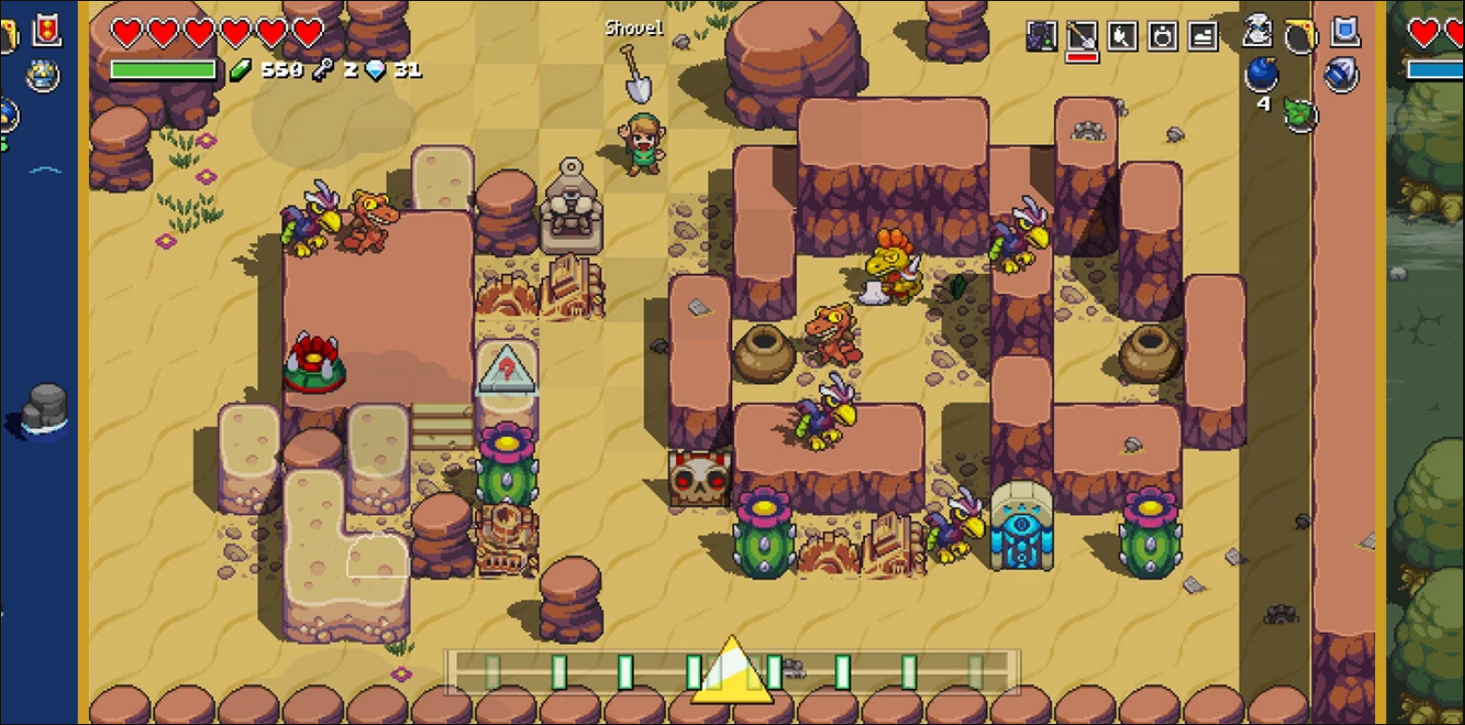 Cadence of Hyrule gameplay, featuring a traditional desert world from the Legend of Zelda games.