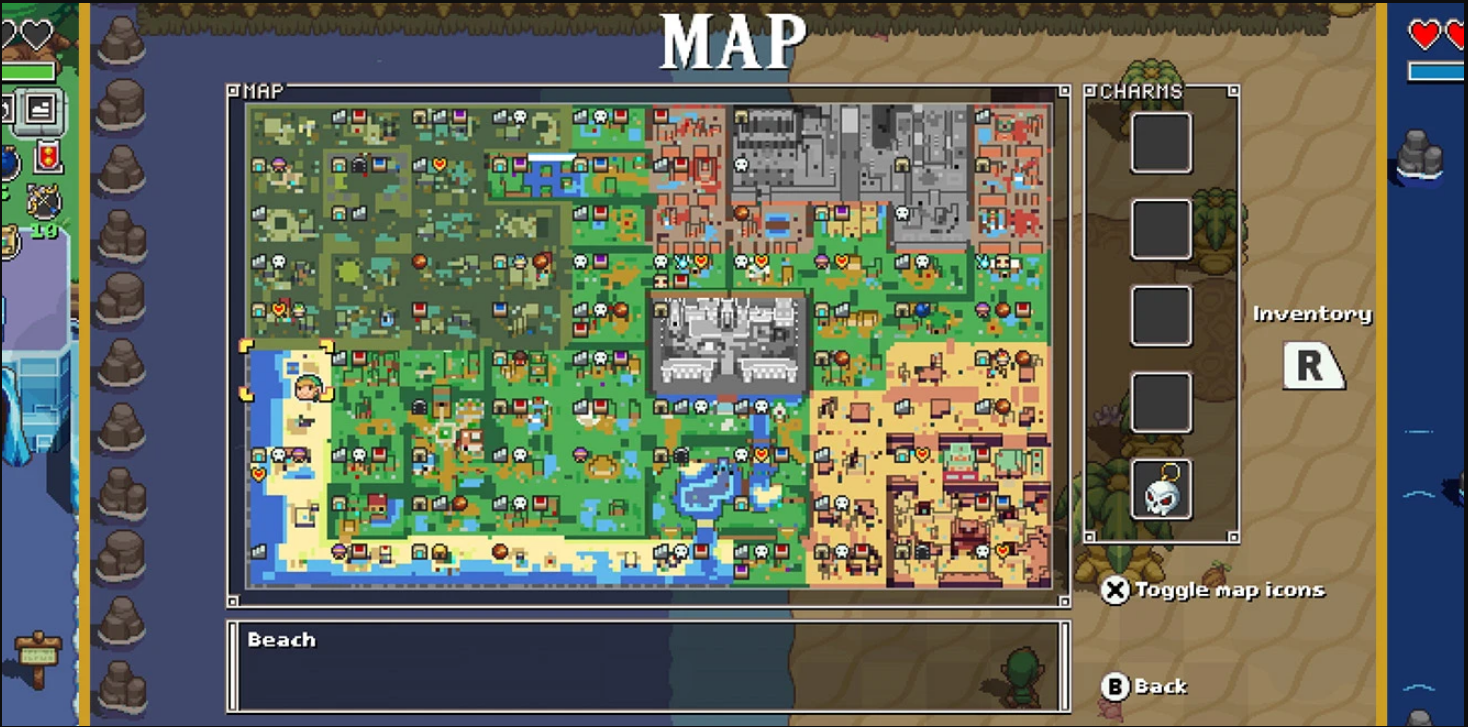 The overworld map for Cadence of Hyrule, showing all the different procedurally generated zones of forest, water, rock, and sand.