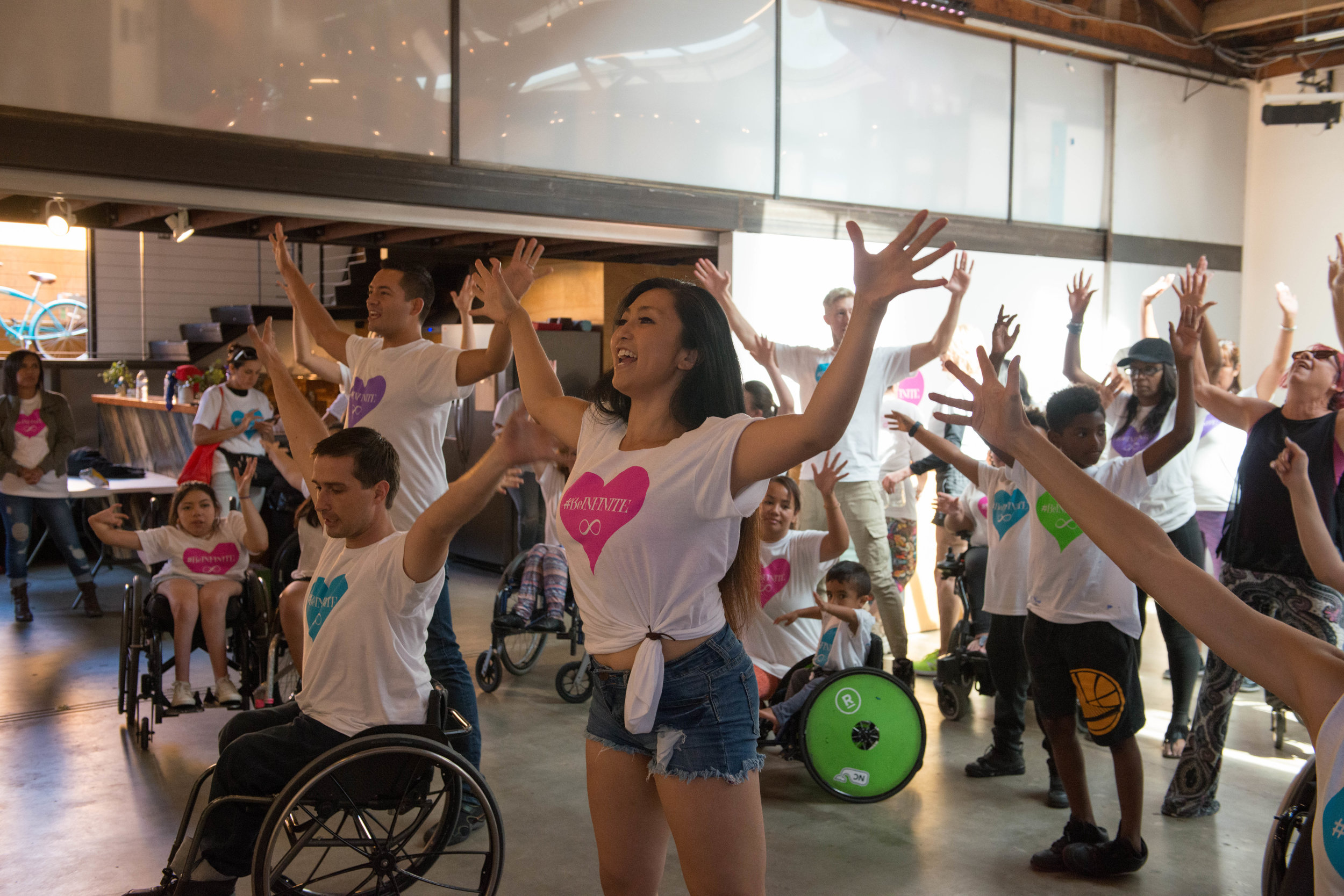 Marisa leading an inclusive all abilities flashmob rehearsal for Infinite Flow