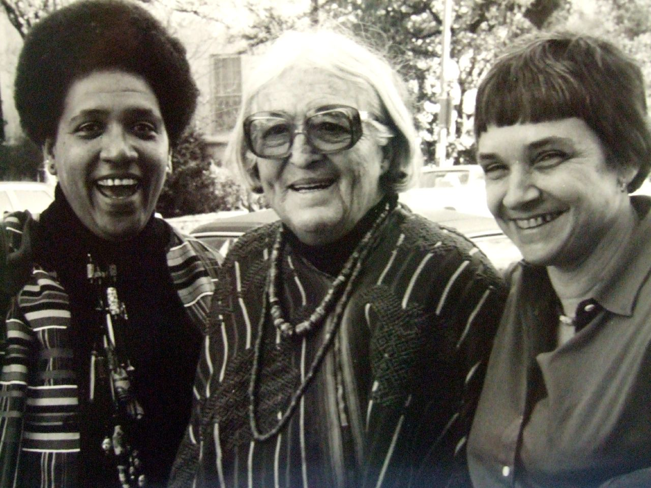 Audre Lorde (left), Meridel Lesueur (center), and Adrienne Rich (right) in 1980, leading a writing workshop together in Austin, Texas.