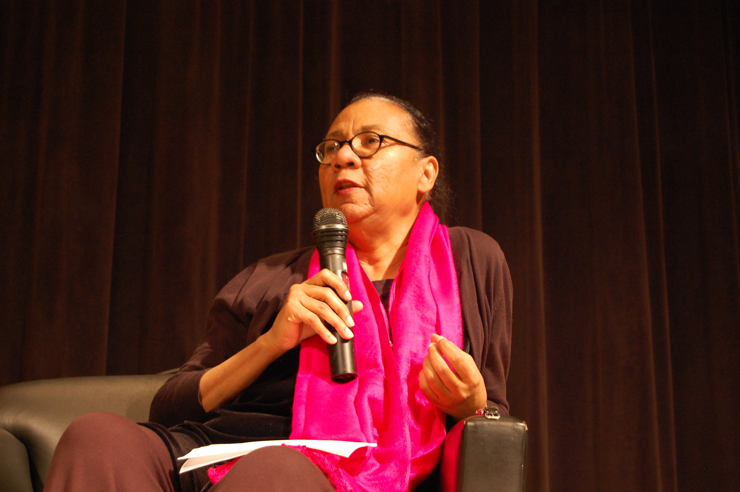 bell hooks speaking at the New School in 2014.