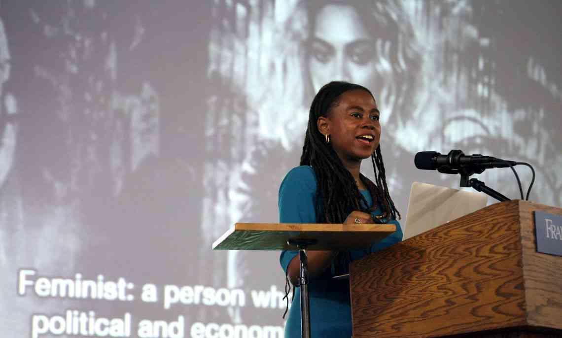 Jamia Wilson speaking at Franklin & Marshall College.