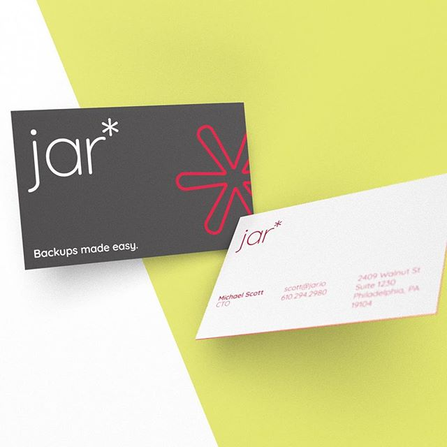 Business cards designed for Jar*, a cloud based device backup and storage company.  _  #design #graphicdesigner #branding #creative #architecture #urbanism #designer #graphicdesign #brandingdesign #color #pantone #type #typeface #mockup #brandingidentity #problemsolving #modern #multidisciplinary #graphicidentity #logo #brooklyn #philly #la #nyc #wayfinding #georgelittledesign