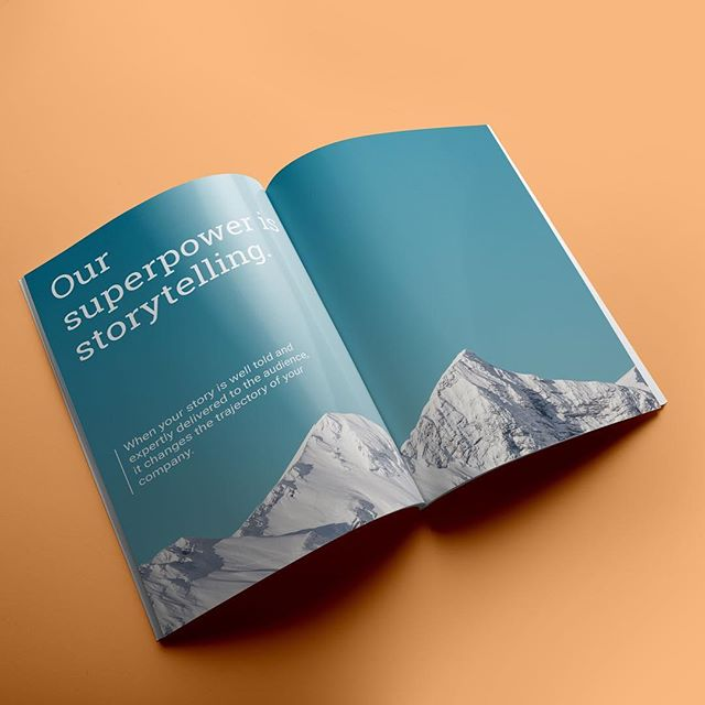 """Our superpower is story telling,"" a spread from overview booklets for Scribewise, a content marketing group.  _  #design #graphicdesigner #branding #creative #architecture #urbanism #designer #graphicdesign #brandingdesign #color #pantone #type #typeface #mockup #brandingidentity #problemsolving #modern #graphicidentity #logo #brooklyn #la #nyc #georgelittledesign"