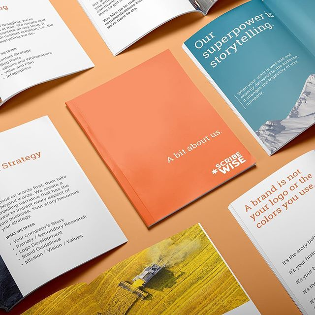 """A bit about us"" booklets for Scribewise, a content marketing group.  _  #design #graphicdesigner #branding #creative #architecture #urbanism #designer #graphicdesign #brandingdesign #color #pantone #type #typeface #mockup #brandingidentity #problemsolving #modern #graphicidentity #logo #brooklyn #la #nyc #georgelittledesign"