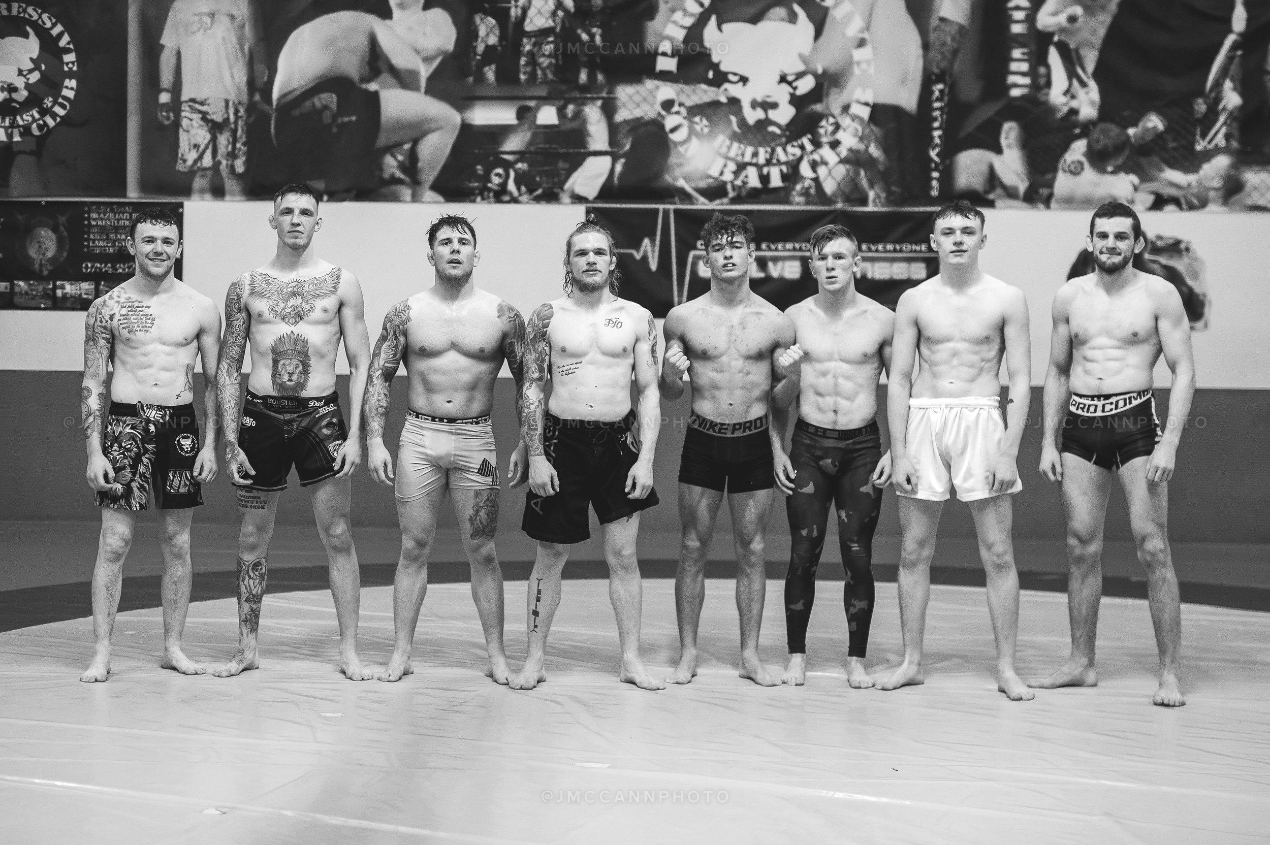 After sparring with (L-R) James McErlean, Patrick McAlister, Decky Dalton, Glenn McVeigh, Matthew Elliott, Garrett Smylie, and Joe McColgan.