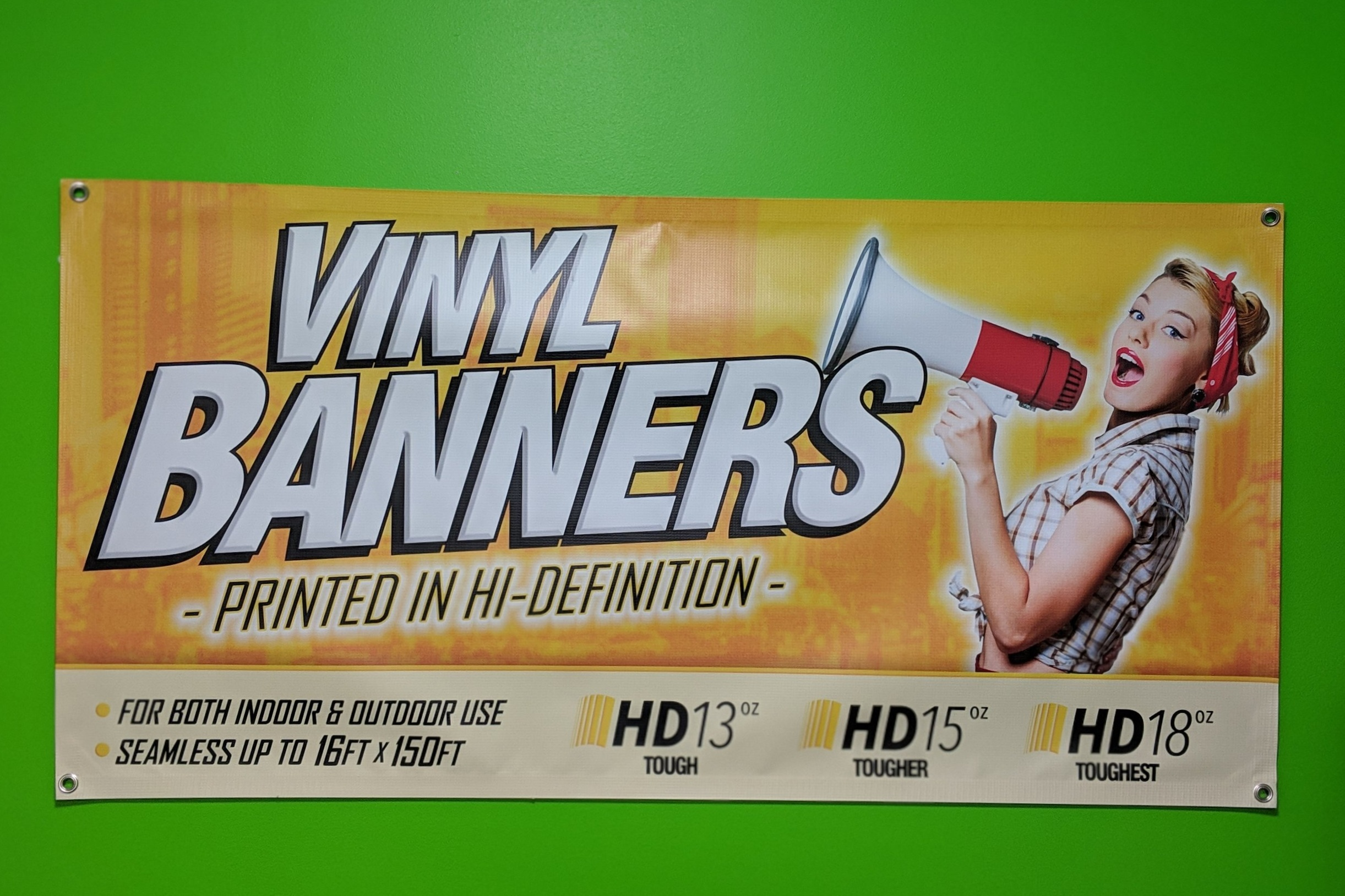 Vinyl Banners - Full color custom banners with reinforced edges.Great for Indoor or Outdoor use.Custom size banners are available.We also offer wrinkle-free dye sublimated banners.