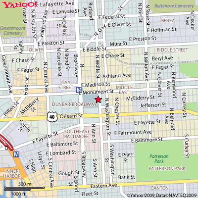 We are located on the Johns Hopkins Hospital Campus in East Baltimore.