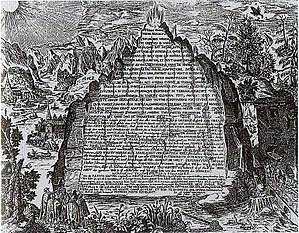 A rendering of the Emerald Tablet by Heinrich Khunrath, 1606.