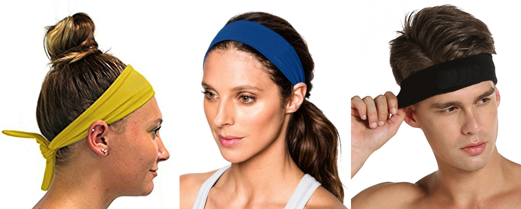 Sport Headbands - Adjustable tie back with no-slip grip strip