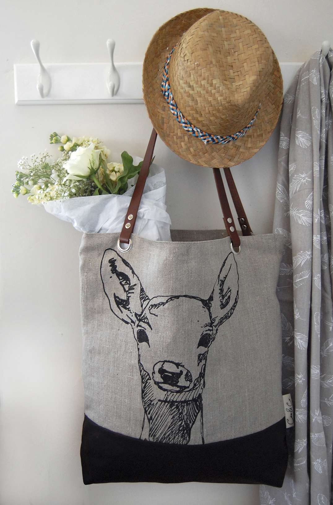 Hand printed linen bag. 2015. SOLD OUT