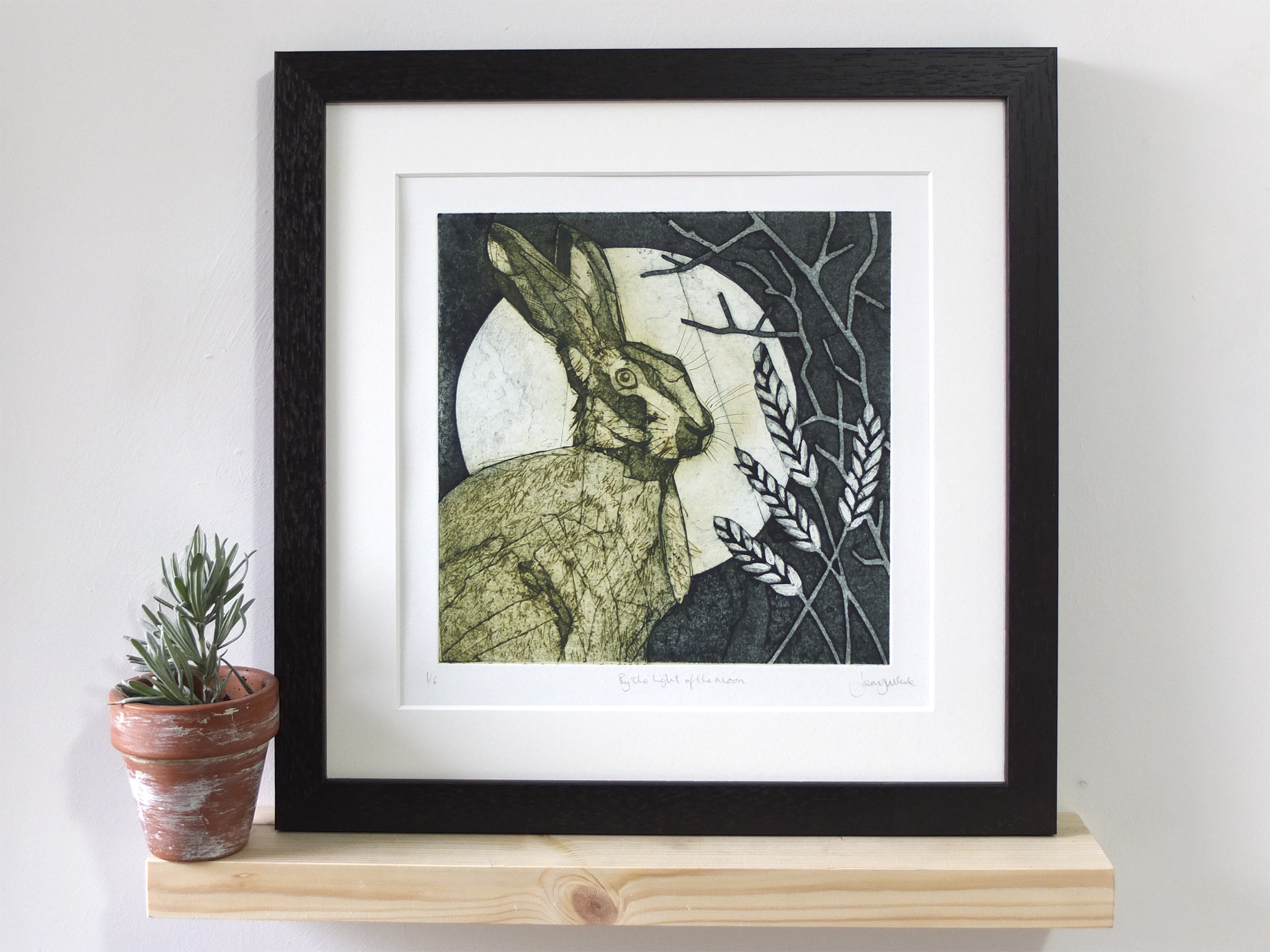 Hare and moon. 2017. Collograph & drypoint. Edition of 6. SOLD OUT