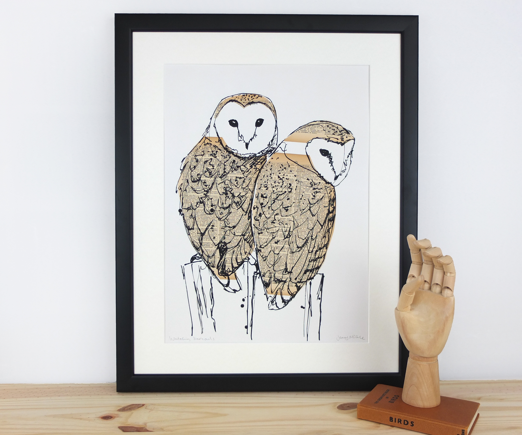Watching Barn owls. 2016. Collaged screen print. Edition of 30. SOLD OUT