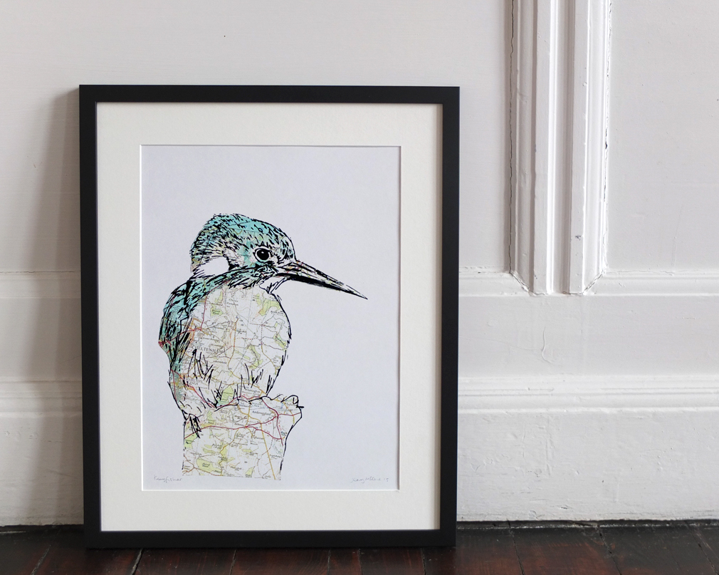 Kingfisher.2016. Collaged screen print. Edition of 25. SOLD OUT