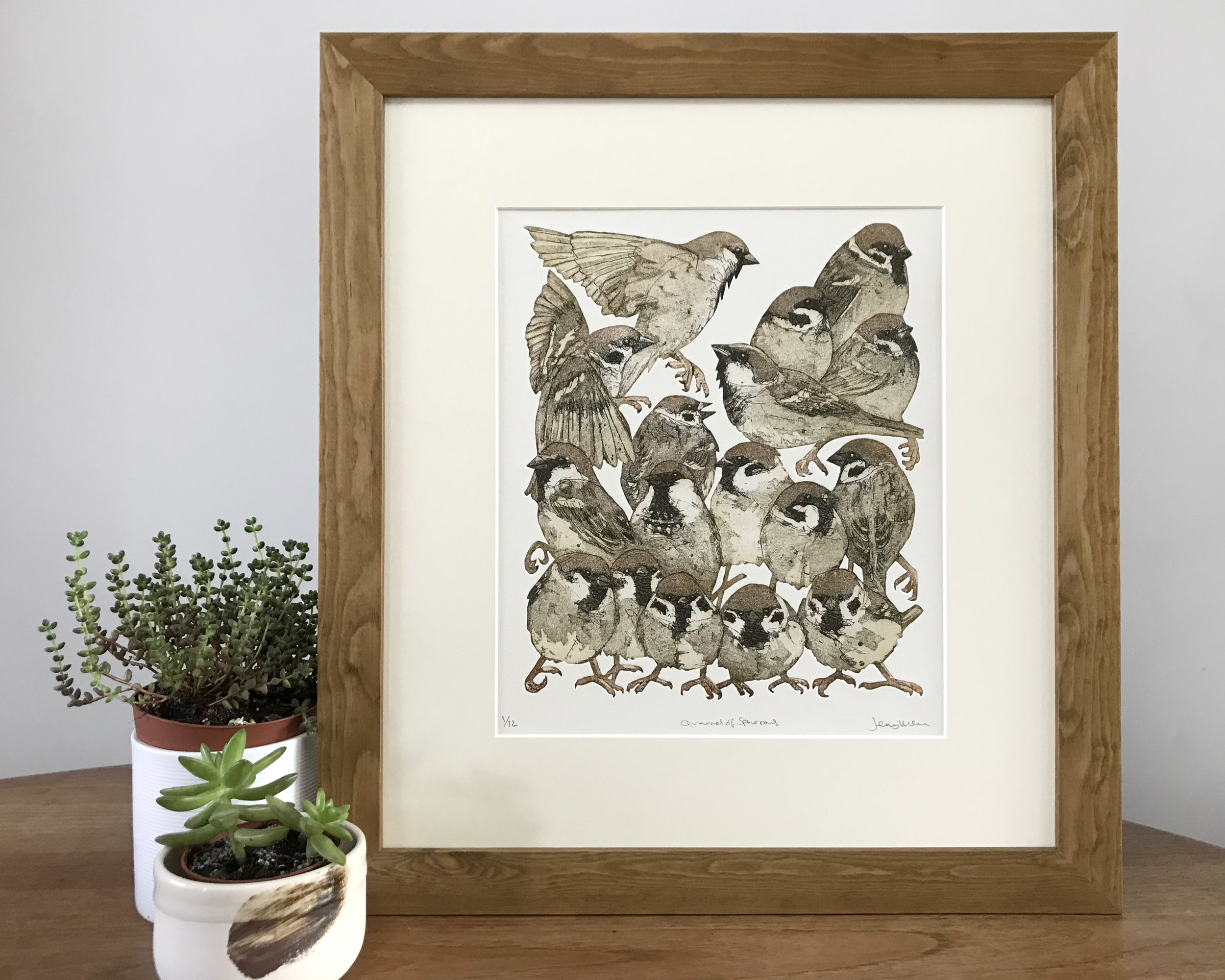 Quarrel of sparrows. 2018. Hand cut etching. Edition of 12 SOLD OUT