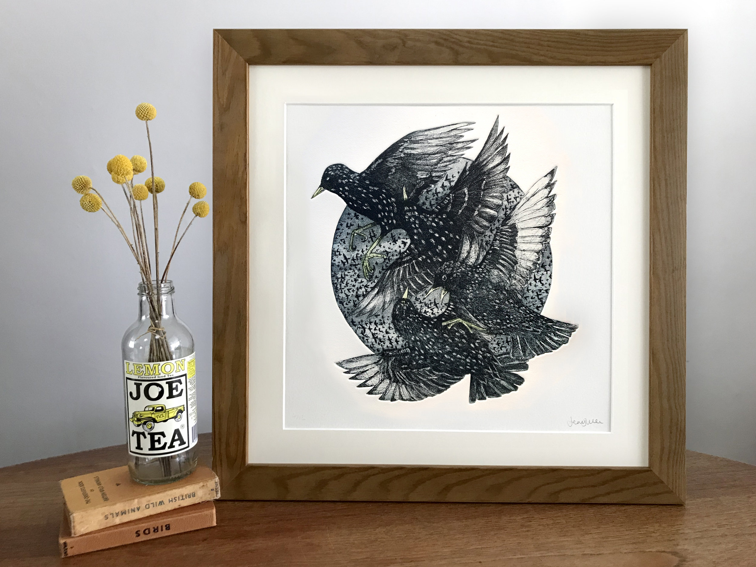 Mob of starlings. 2019 Hand cut etching. Edition of 12