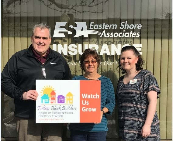 Eryl Christiansen and Regina Lunkenheimer,Eastern Shore Associates pose with Jennifer as she thanks them for becoming the newest FBB RENOVATOR  supporter.  Eastern Shore is an organization with over 80 insurance professionals operating from 7 branch offices throughout Central and Upstate New York. They work with over 30 insurance companies, giving Them the ability to find the best solution to each of their customers' insurance needs. The employees live and work in the same communities as their customers, and are dedicated to helping protect the homes, automobiles, businesses, and lives of our neighbors. Supporting the FBB project is a natural for Eryl and Regina and the entire Eastern Shore team.
