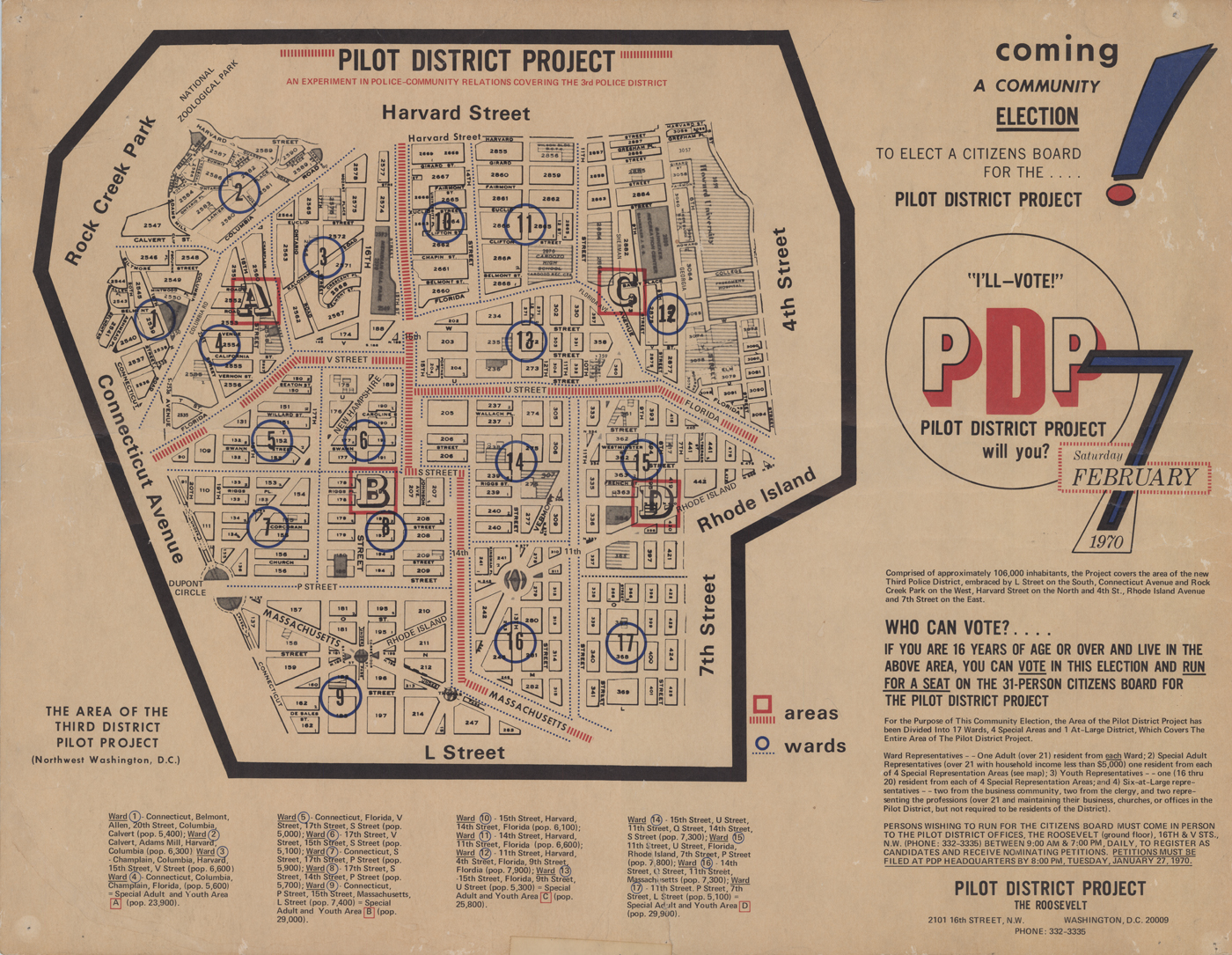 Courtesy National Building Museum.  Map  featured in their  exhibit on Pilot District Project . c1970.