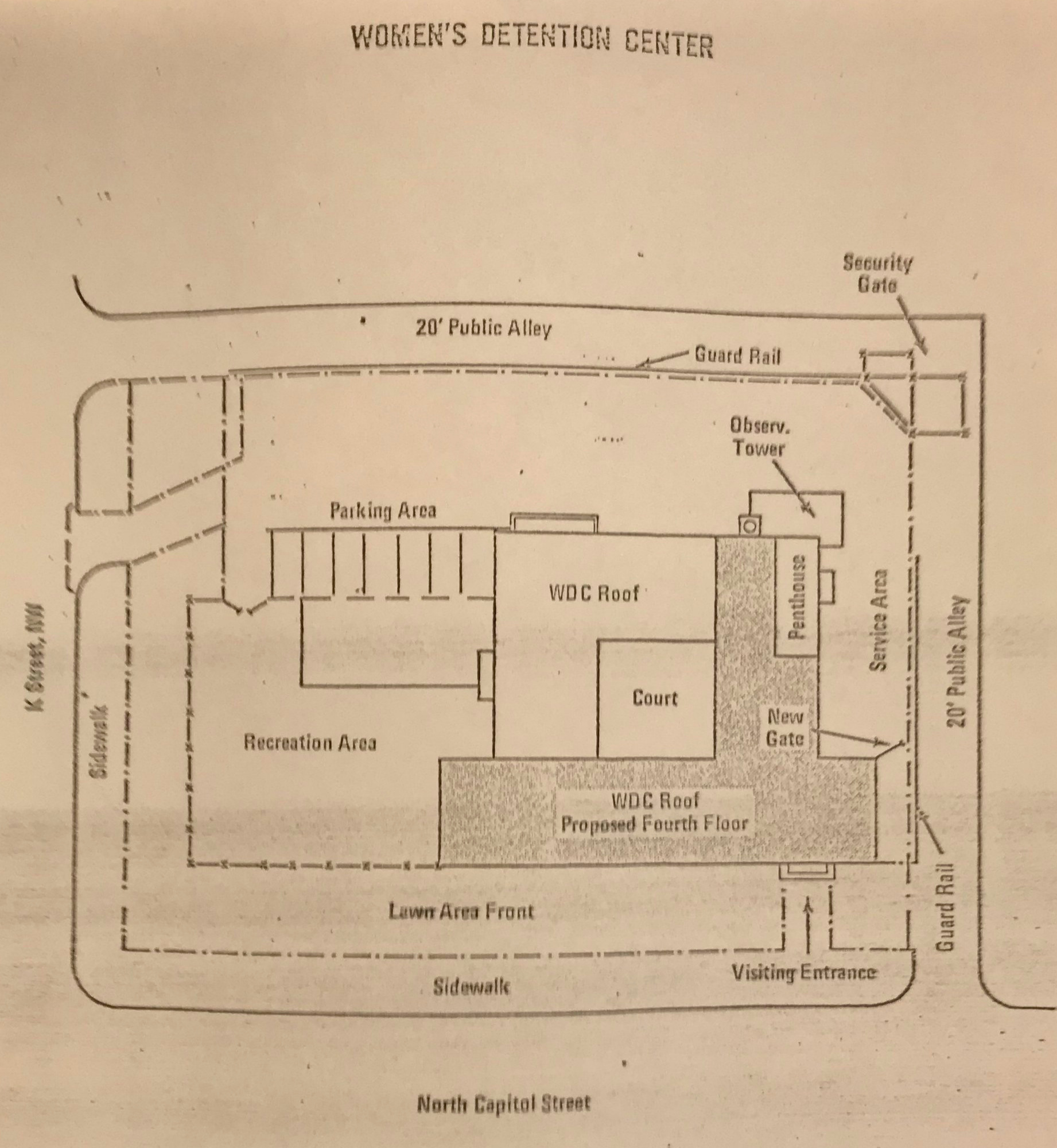 Map of Women's Detention Center, Courtesy of American University Law Library, LAWCOR files, Box 89, 1973.