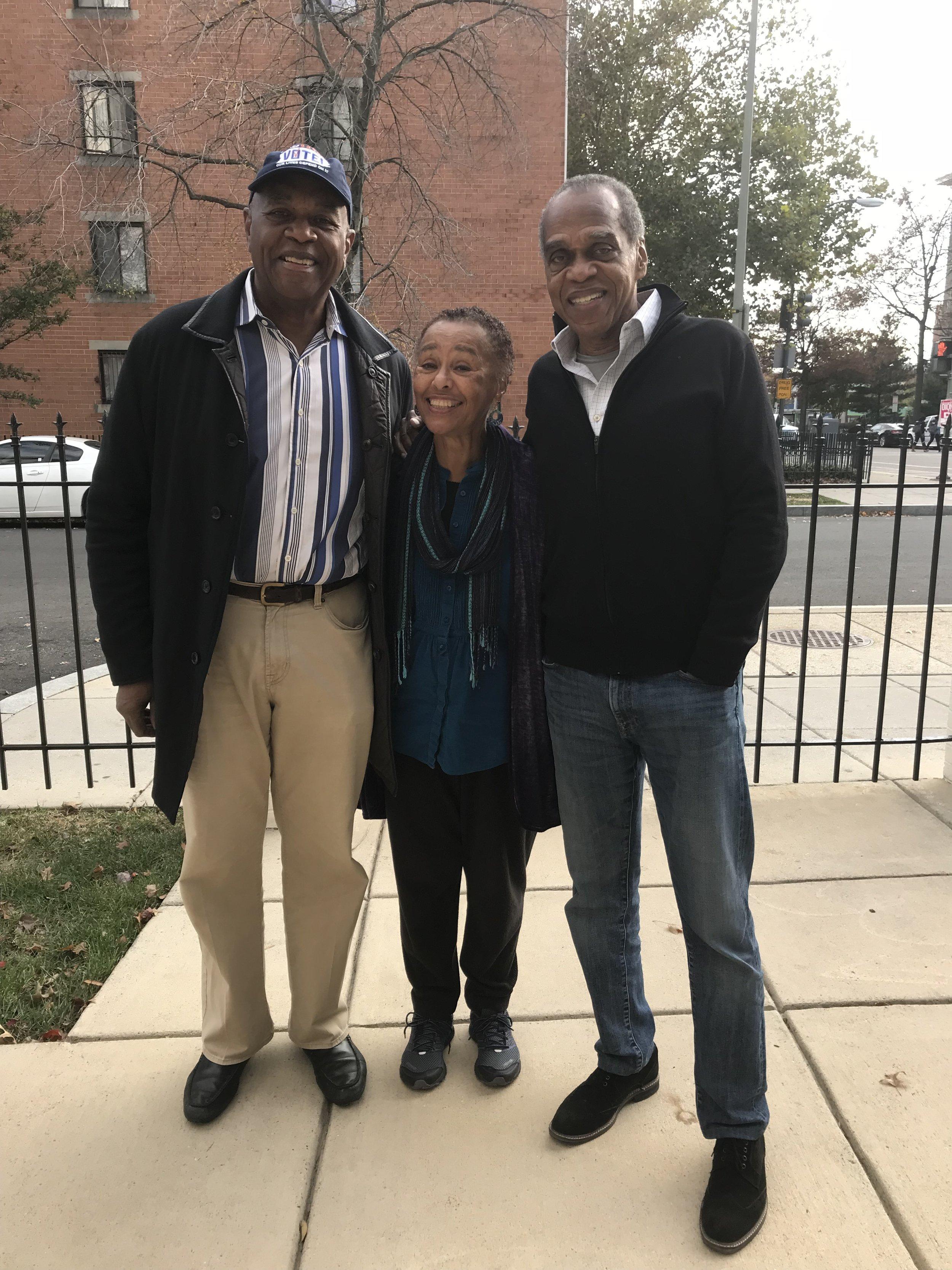 Courtland Cox, Judy Richardson, Tony Gittens. 8 November 2018. Kiyem Ali, photographer.