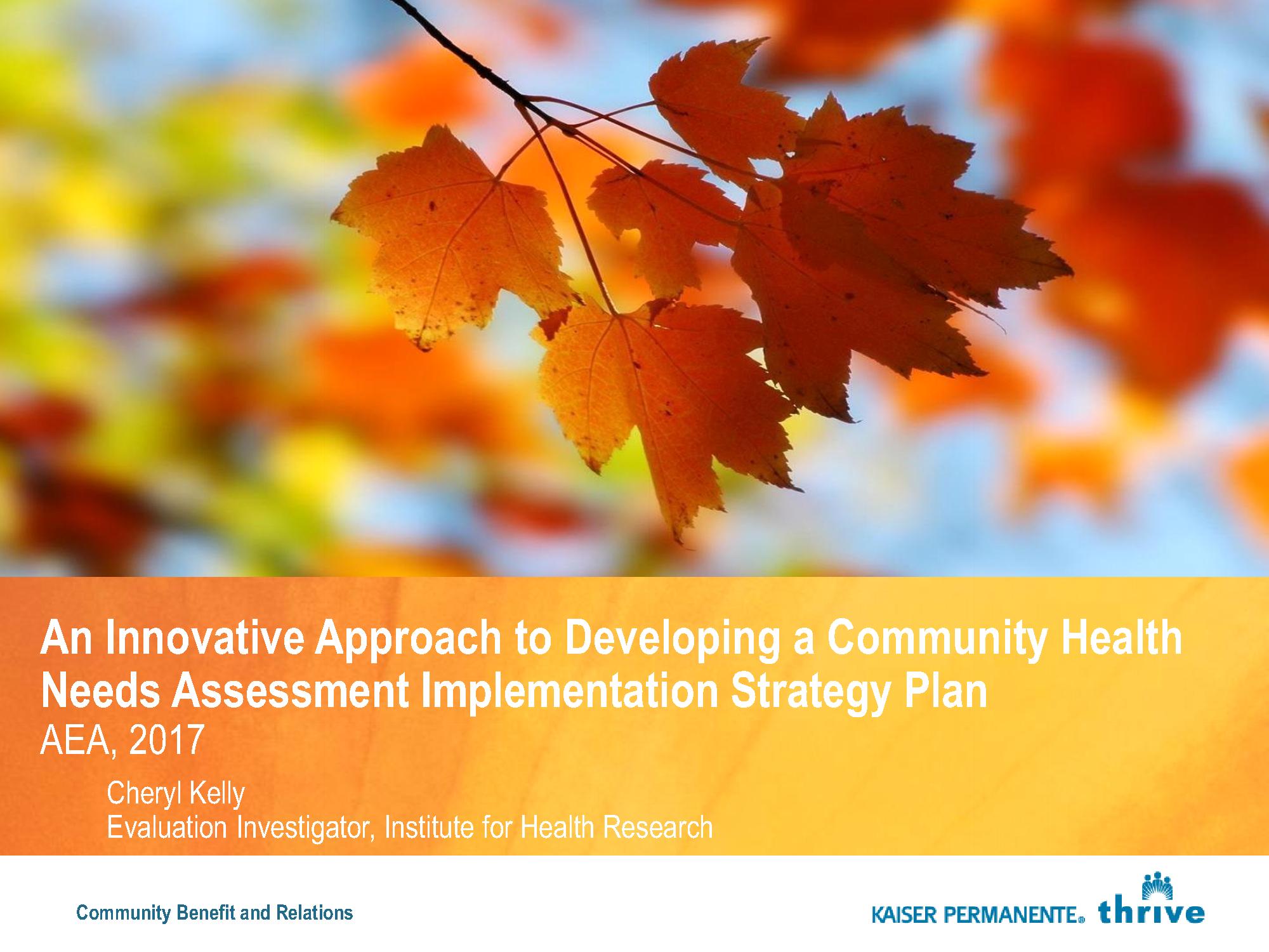 Community Health Needs Assessment AEA Presentation 2017