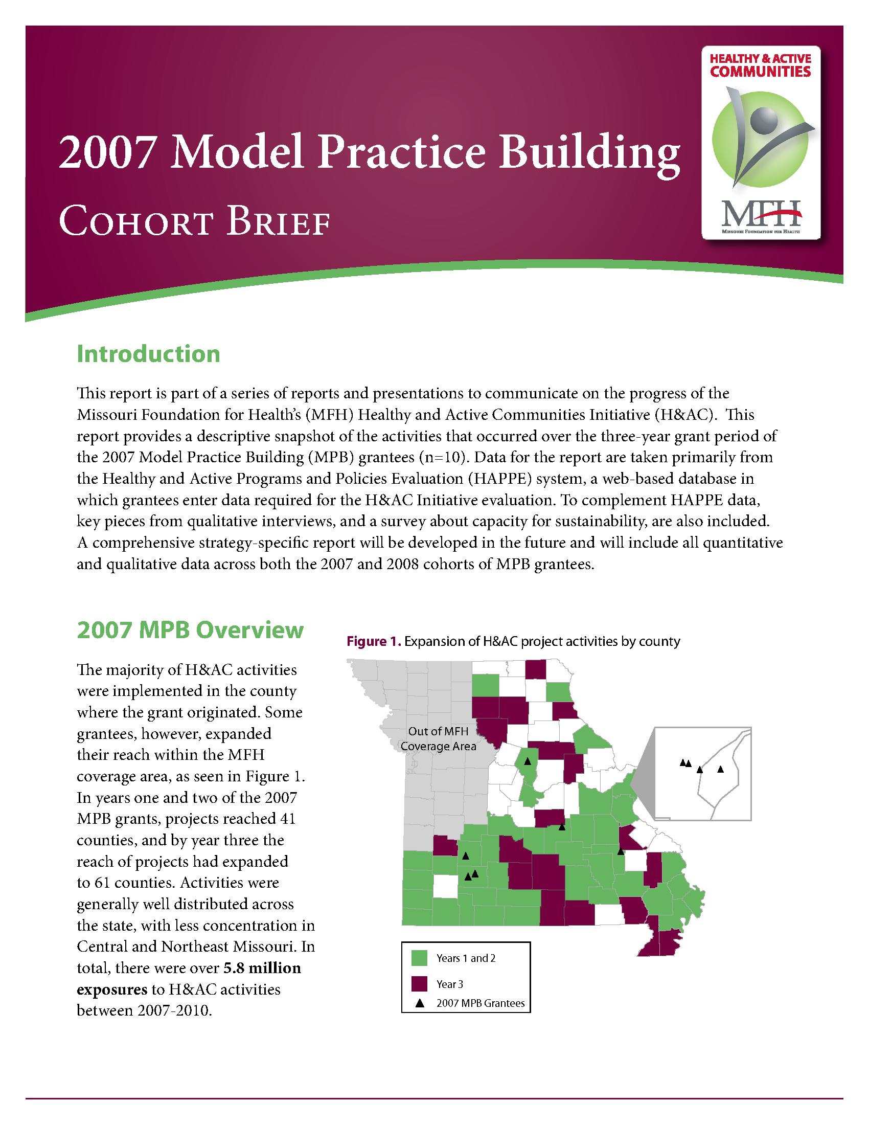 Healthy & Active Communities Model Practice Building Evaluation Report 2007