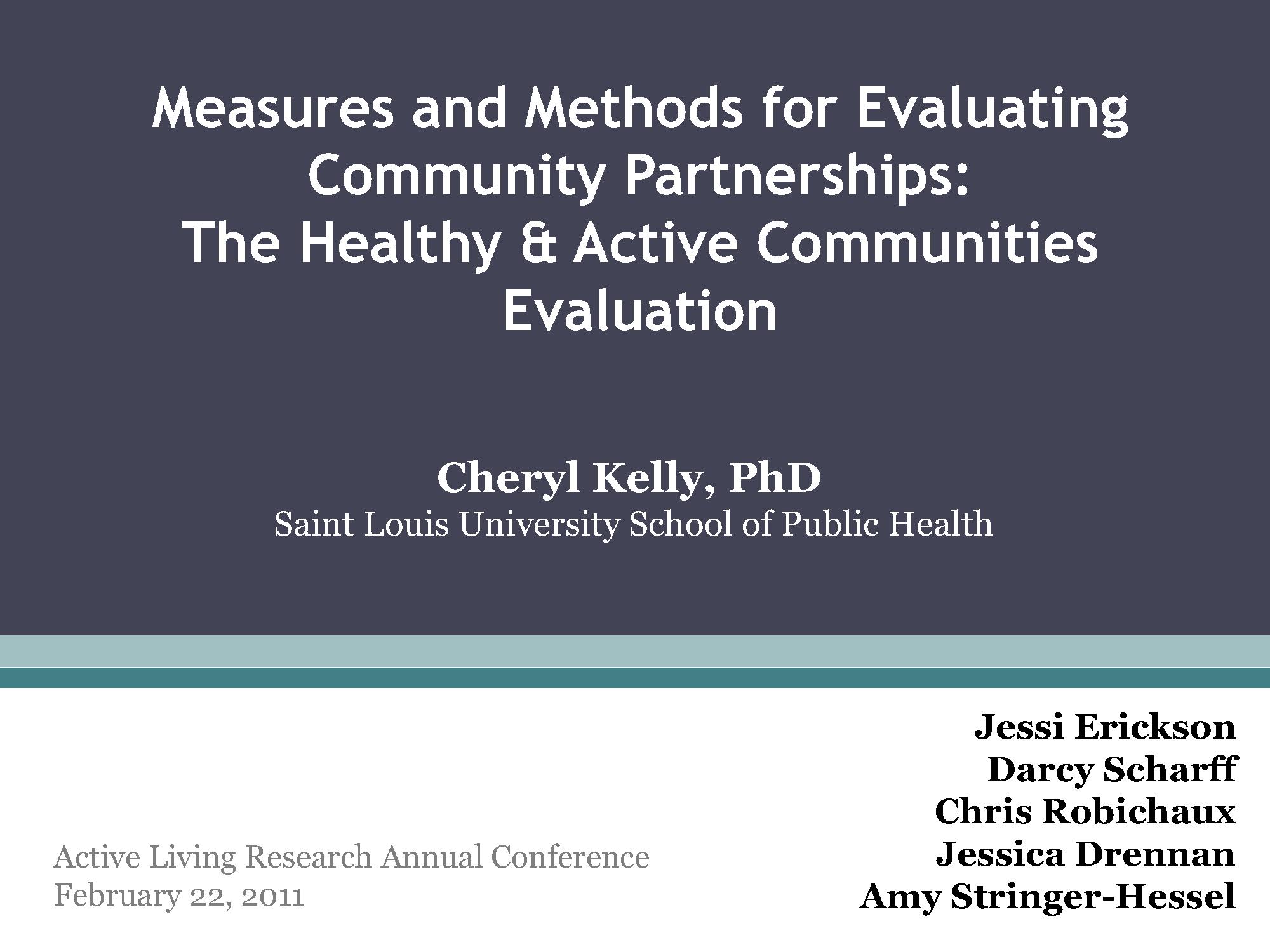 Evaluating Community Partnerships ALR Presentation 2011