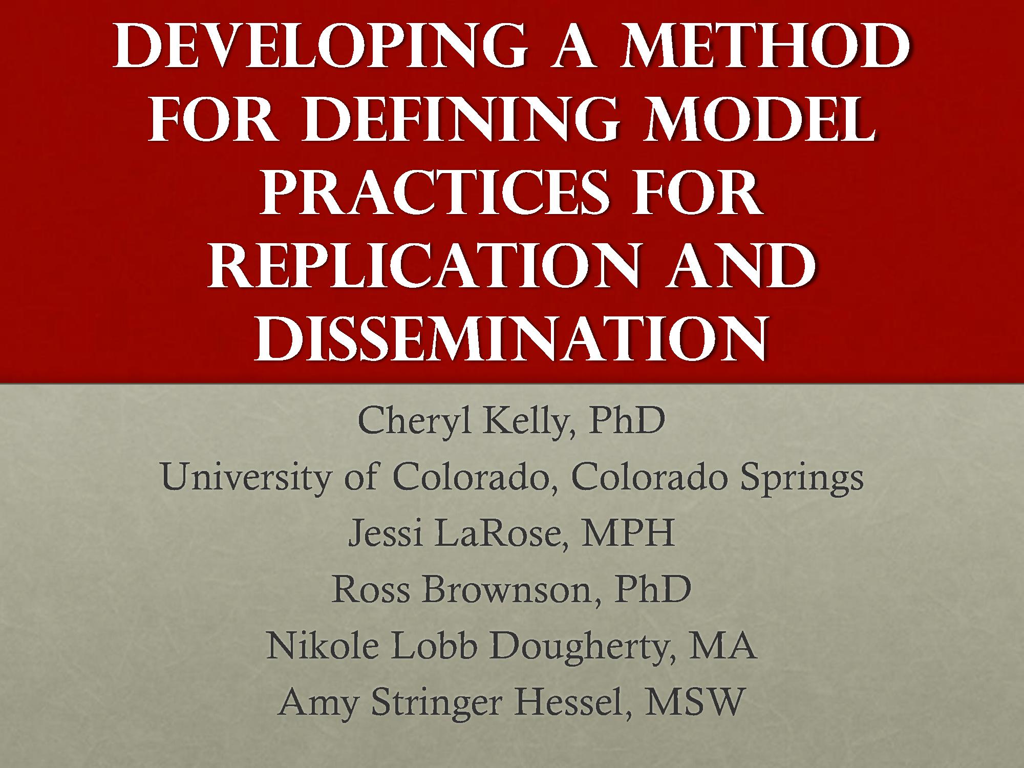 Defining Model Practices ALR Presentation 2012